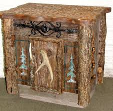 Rustic End Table With Tree Corner Trim Deer Antler For Handle Ironwork Decorative And Sides Have Cutouts Of Pine Trees