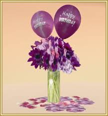 Happy birthday purple palette bouquet with balloons 004 FDA Happy Birthday Purple Palette Flower Bouquet with Balloon
