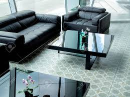 100 Living Room Table Modern Black Leather Sofa And Black Glass Table On Tile Flooring