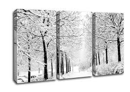 Forest 3 Panel Winter In The Park Black And White Canvas Art