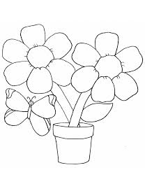 Simple Flower Coloring Page With Butterfly For Kids