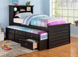 Amazon BLACK CAPTAIN TWIN BOOKCASE BED W TRUNDLE BED AND 3