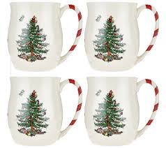 Spode Christmas Tree Mug And Coaster Set by Spode Christmas Tree S 4 14 Oz Candy Cane Mugs Page 1 U2014 Qvc Com