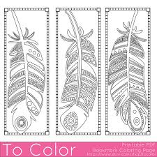 Printable Feathers Coloring Page Bookmarks For Adults PDF JPG Instant Download Book Sheet Grown Ups Digital Stamp