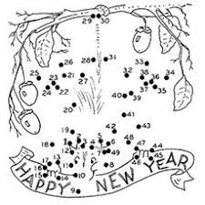 Join The Dots Of New Year Coloring Page