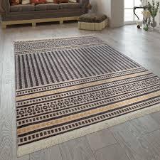 kurzflor teppich streifen muster grau gelb