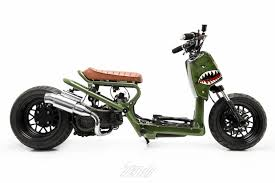 A Simple Interest That Quickly Turned Into Passion Eduardos Steady Garage Built Military Inspired Honda Ruckus P150 Warhawk