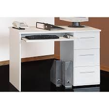 bureau avec tiroir bureau avec tablette coulissante et 3 tiroirs tobi blanc