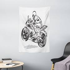 wandteppich wohnzimmer schlafzimmer wandtuch seidiges satin wandteppich abakuhaus rechteckig motorrad monochrome sketch racer kaufen