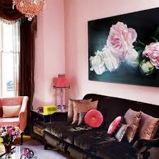 Pale Pink Living Room And Chocolate Brown
