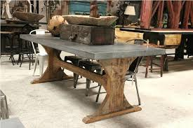 Zinc Pedestal Table Image Of Rustic Top Dining