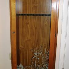 Wooden Gun Cabinet With Etched Glass by Find More Beautiful Wood U0026 Glass Gun Cabinet W Deer Etching