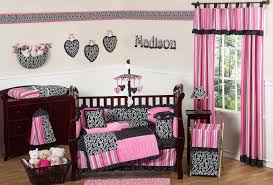 Pink And Black Crib Bedding Baby Bedding Set For Girl Black And