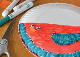 Decorating The Paper Plate Bird Craft