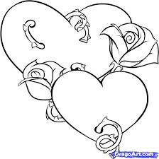 Drawing Hearts And Roses Coloring Pages