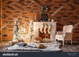 100 Brick Loft Apartments Wall Candles Christmas Stock Photo