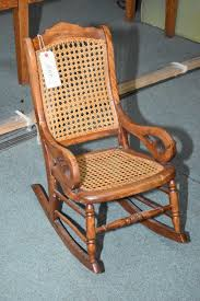 Child Sized Empire Style Antique Rocker With Rattan Seat And Back