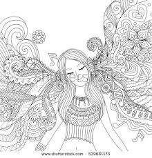 Girl Listening To Music Happily Zendoodle Design For Banner Card T Shirt Adult Coloring