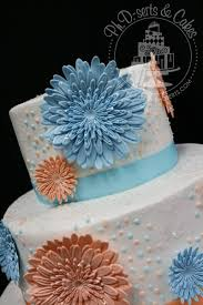 Orange Blue Daisy Wedding Cake Phdserts