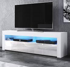 tv lowboard live in weiß hochglanz 140 x 50 cm mit led beleuchtung