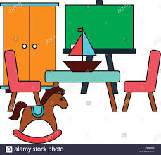 Rocking Horse Table Chair Boat Kid Toys Vector Illustration ...
