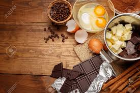 Baking Chocolate Cake In Rural Or Rustic Kitchen Dough Recipe Ingredients On Vintage Wooden Table