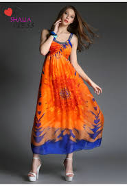 SH 005 Orange Round Neck Floral Printed Bohemian Beach Maxi Dress Casual Plus