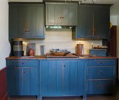 Adorable Rustic Blue Kitchen Idea With Double Door