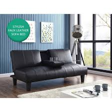 Luxury Black Or Grey Padded Faux Leather Sofa Bed W Cupholder