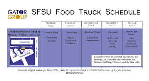 Food Truck Schedule Nov. 2 – Nov. 6 | SFSU Gator Group Orlando Food Truck Schedule Cnections Form Schedule 1 Irs With Express Truck Tax 5 638 Cb Accurate Though The Man Van At The 2017 Calgary Intertional Auto And City Of Pensacola Florida Upside Raleigh Little Theatres Macbeth May 13th Food Lunch 13 Stripes Brewery Facebook United Way Williamson County Forest Hill Church Kitchener Caribbean Grill Announces Splog Smile Politely C Car Expenses Worksheet Lovely Deduction Best Image Kusaboshicom Gibsonia For This Strange Roots