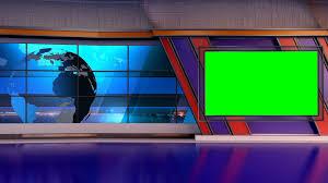 News TV Studio Set 26 Virtual Green Screen Background Loop