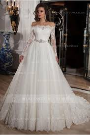 Off Shoulder Long Sleeves A Line Lace Overlay Tulle Wedding Dress With Crystal Belt