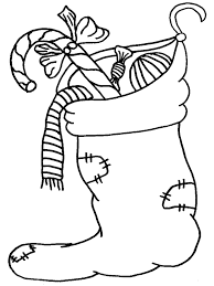 Christmas Sock With Gift Merry Coloring Page
