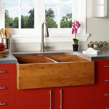 Contemporary Kitchen Design with 33 Inch Farmhouse Bamboo Double