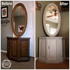 For Love Of The Paint Before And After Vintage Bassett Console Table Cabinet Mirror Set