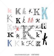 Set Letter K Different Style Collection Stock Vector
