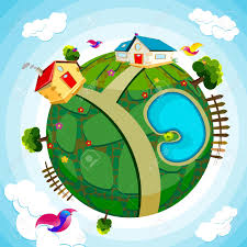 100 House Earth Illustration Of And River On Green Royalty Free Cliparts