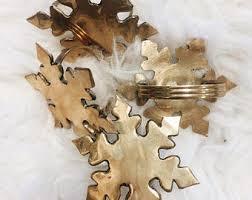 Vintage Holiday Napkin Ring Set Christmas Brass Rings Snowflake Napkins