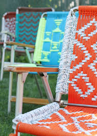 Webbed Lawn Chairs With Wooden Arms by Tutorial Macrame Lawn Chair