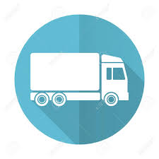 100 Truck Sign Delivery Blue Flat Icon Stock Photo Picture And Royalty