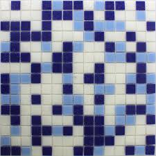 glass mosaic tiles blue white cyan fl90052