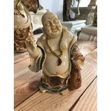 deko figur dicker happy buddha figur stehend beige gold h20 cm groß statue