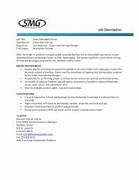 Food And Beverage Supervisor Job Description New Sample Resume For Hotel