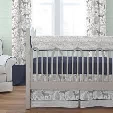navy and gray woodland 3 piece crib bedding set carousel designs