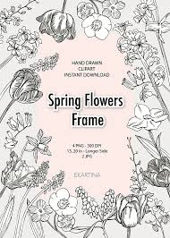 Spring Flowers Frame BorderFrame Floral TemplatesHand Drawn Clip ArtBlank Templaterustic Inviteboho Wedding DIYCard DesignPNG From EKARTINA On
