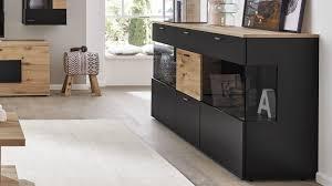 interliving wohnzimmer serie 2104 sideboard anthrazitfarbene lackoberflächen balkeneiche drei türen drei schublade