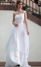 elegant chiffon one shoulder beaded high low white beach wedding
