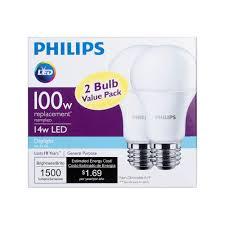 philips 462002 100w equivalent daylight led light bulb pack of 2