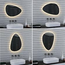 details zu led beleuchtung badezimmerspiegel warm weiß licht bad wand spiegel oval 80 x 55
