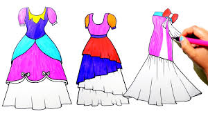 Draw Color Paint Pretty Dresses Coloring Pages And Learn Colors For Kids